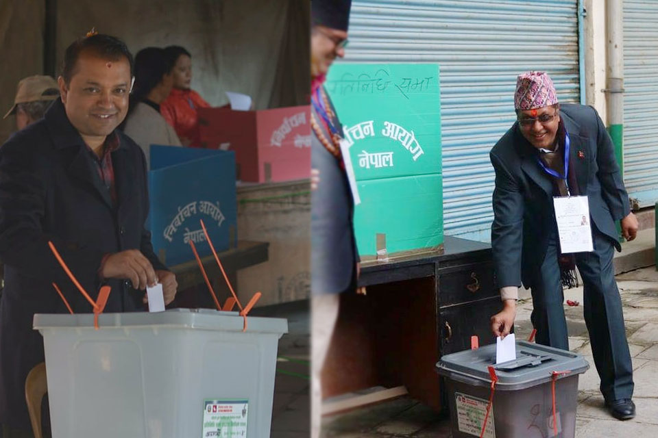 Gagan Thapa and Rajan Bhattarai vote at Maitidevi (Photo features)