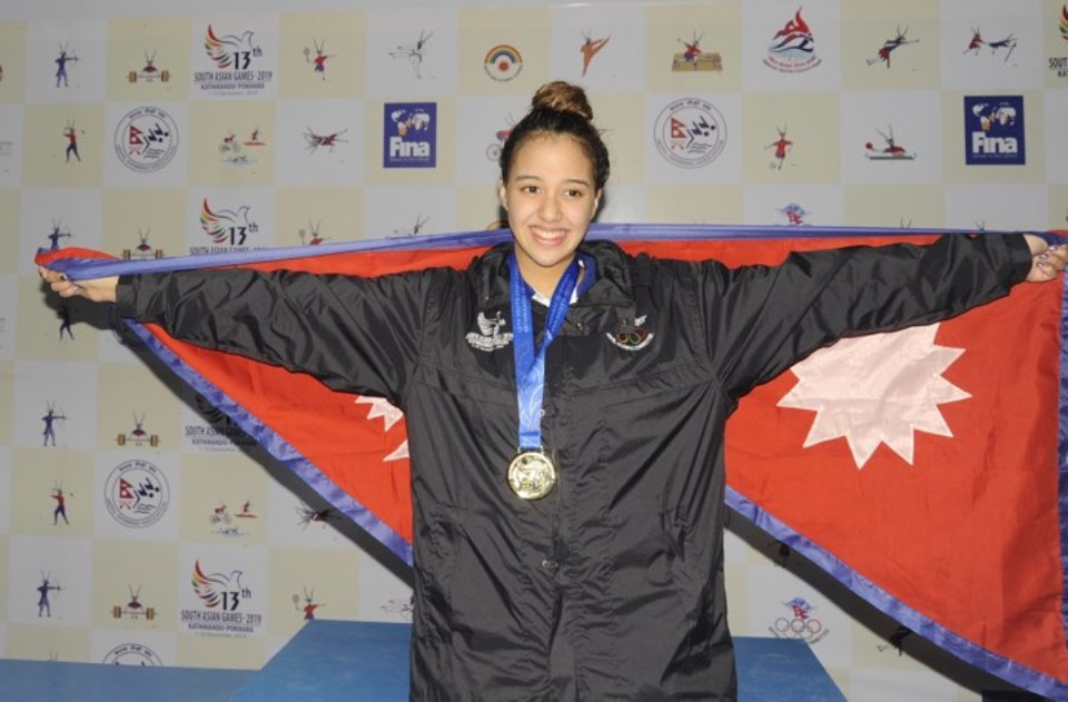 Gaurika Singh becomes first Nepali swimmer to win three golds