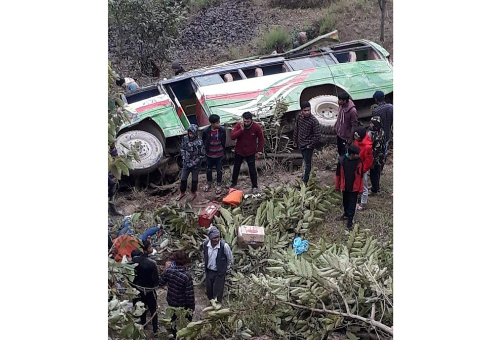 Two killed, 17 injured in Tanahu bus accident