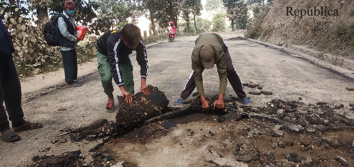 Blacktopped road in Gorkha peels off in just one day of its construction