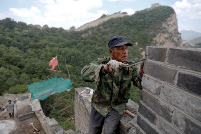 China's Great Wall repaired with simple tools, bricks of old