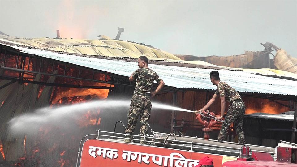 Fire breaks out in Greenply Industry in Morang