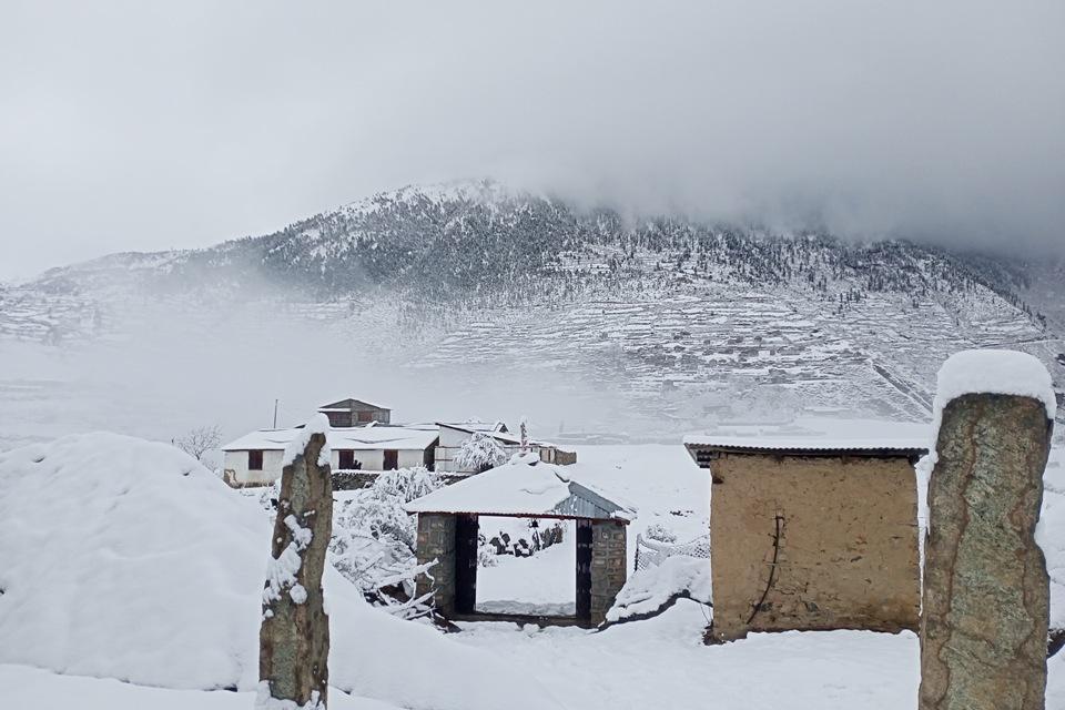 Snowfall cripples normal life in Humla (with photos)