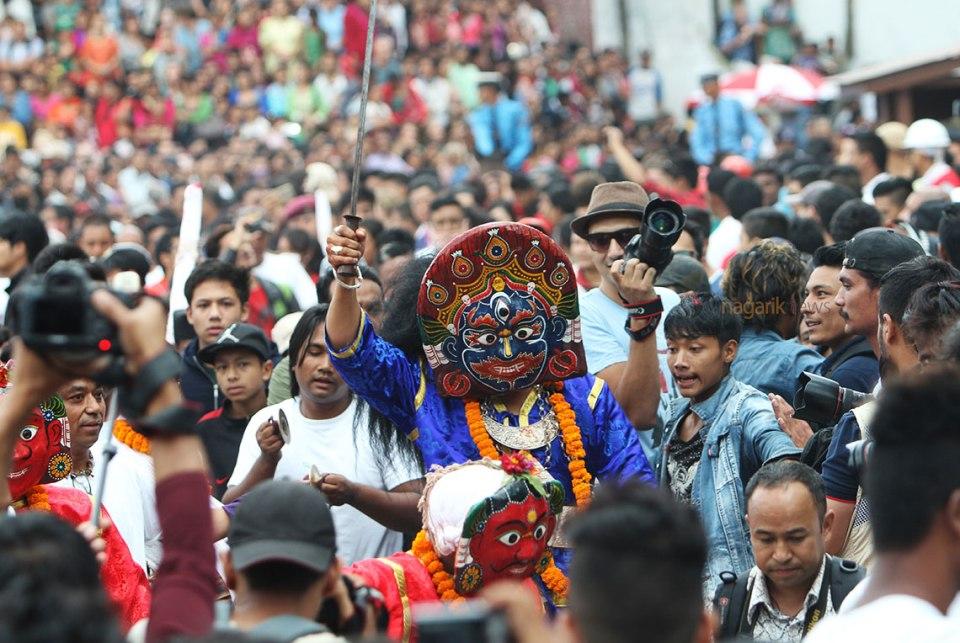 How Indra Jatra is celebrated in Bhaktapur