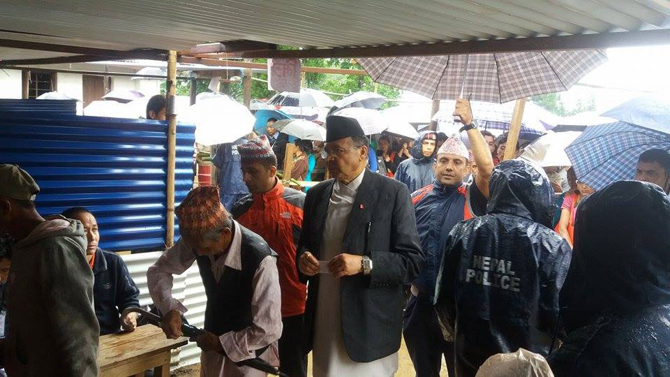 Former PM Khanal casts vote in Suryodaya, Ilam
