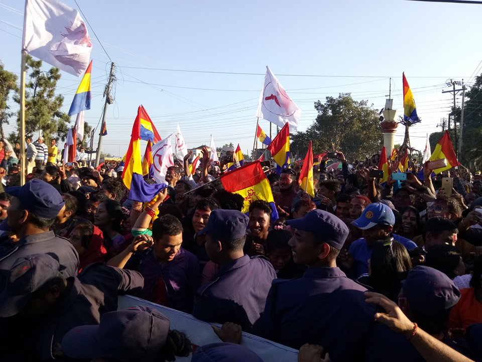 RPP candidate Lingden's victory rally dotted with left party flags