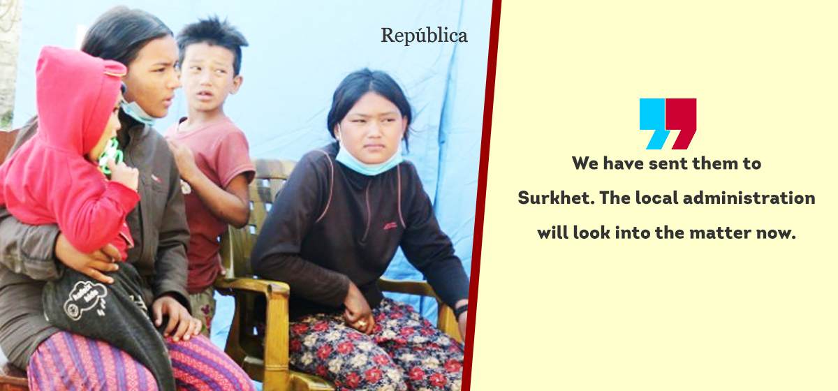 Children who came to Jumla from Punjab in search of their father sent to Surkhet after their address traced