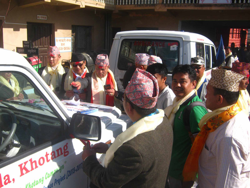Locals in Khotang overjoyed at receiving ambulances (photo feature)