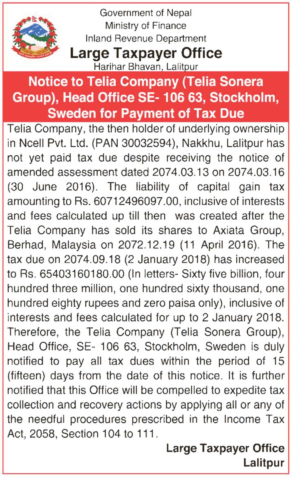 LTO publishes public notice asking Telia to settle CGT dues
