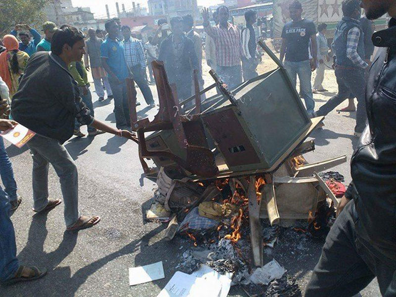 UDMF cadres vandalize UML city office at Lahan