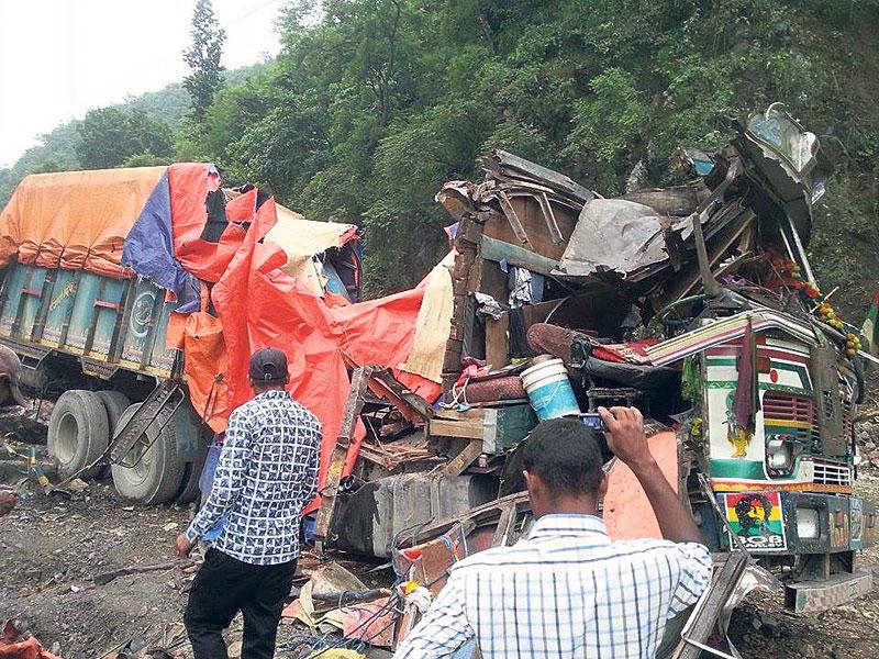 Landslide crushes four vehicles