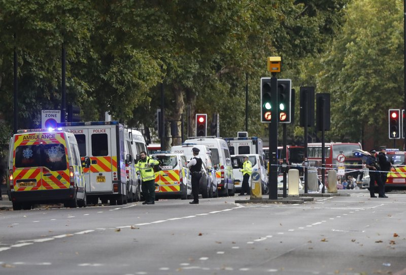 Car hits pedestrians outside London museum; some injured