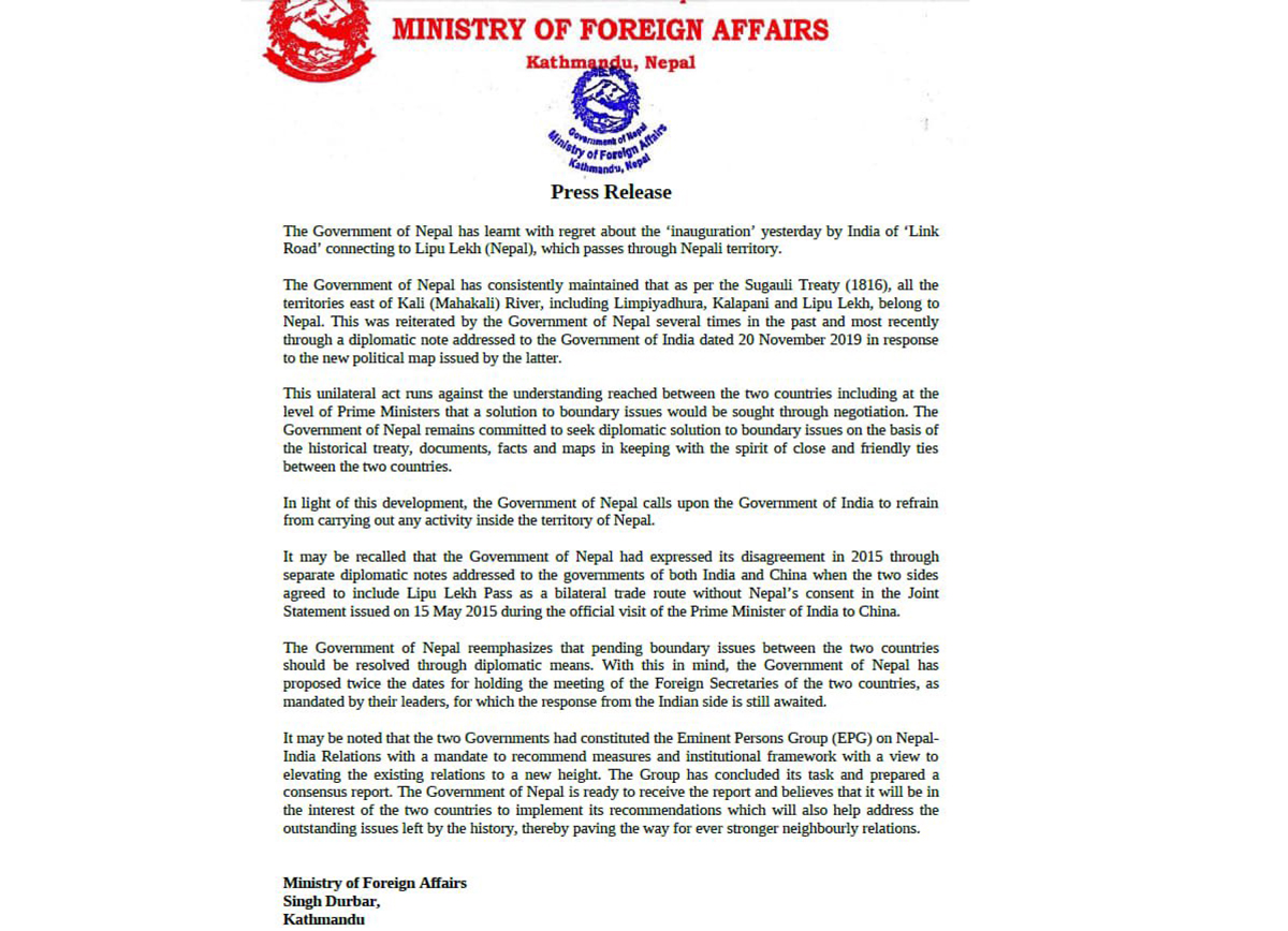 Nepal strongly objects to construction of road by India connecting Tibet via Nepali territory of Lipulekh