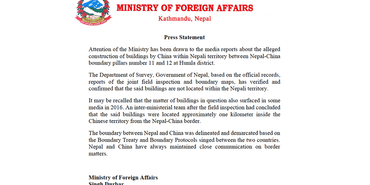 Govt refutes reports about alleged Chinese encroachment of Nepali territory in Humla