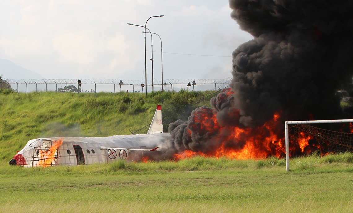 Emergency mock drill on plane crash rescue operation conducted (video)