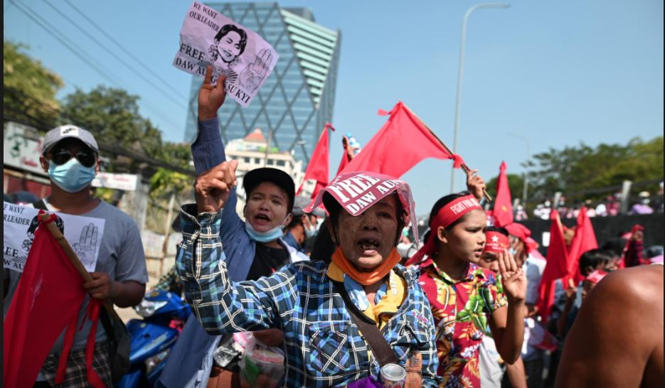 Thousands protest Myanmar coup after night of fear, security patrols