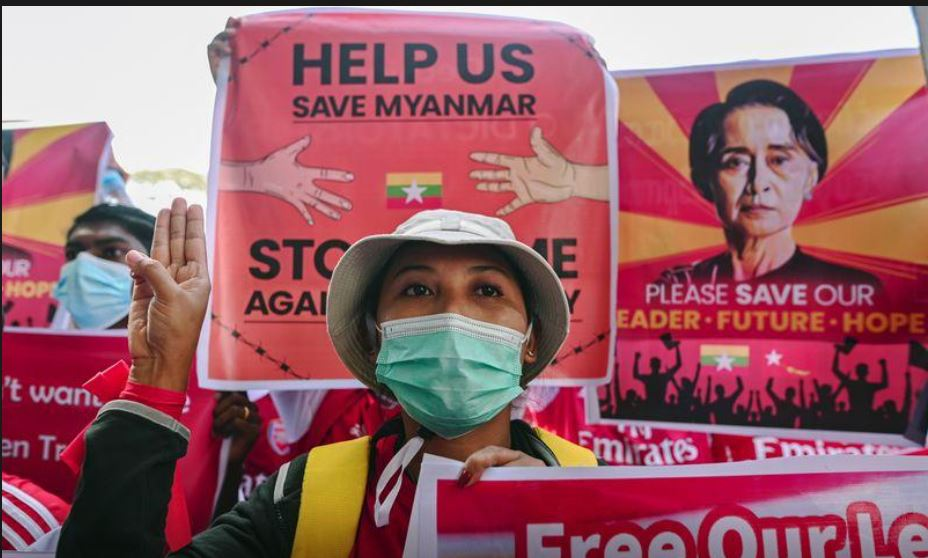Three wounded as hundreds of thousands of protesters defy Myanmar junta