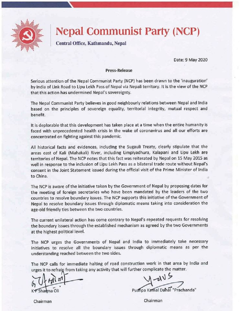 Ruling NCP deploresIndia's unilateral road construction through Nepali territory Lipulekh (with statement)
