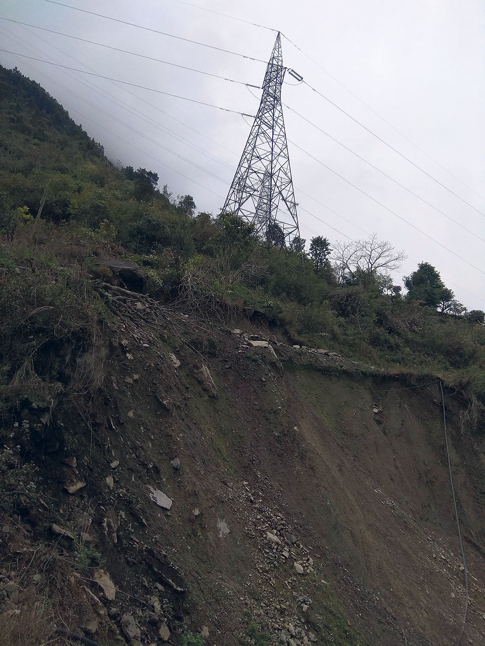 Marsyangdi-Syuchatar transmission line tower faces risk of landslide