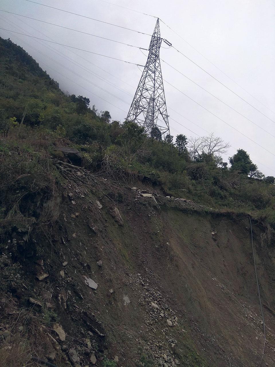 Marsyangdi-Syuchatar transmission line tower faces risk of landslide