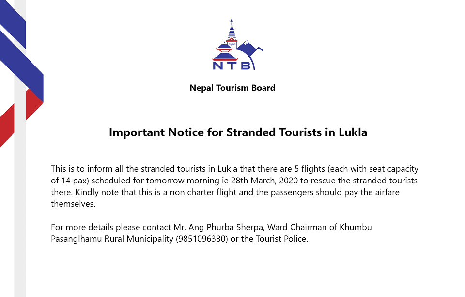 Stranded tourists to be rescued from Lukla tomorrow morning