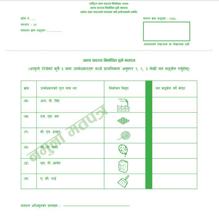 Sample ballot papers for NA election out