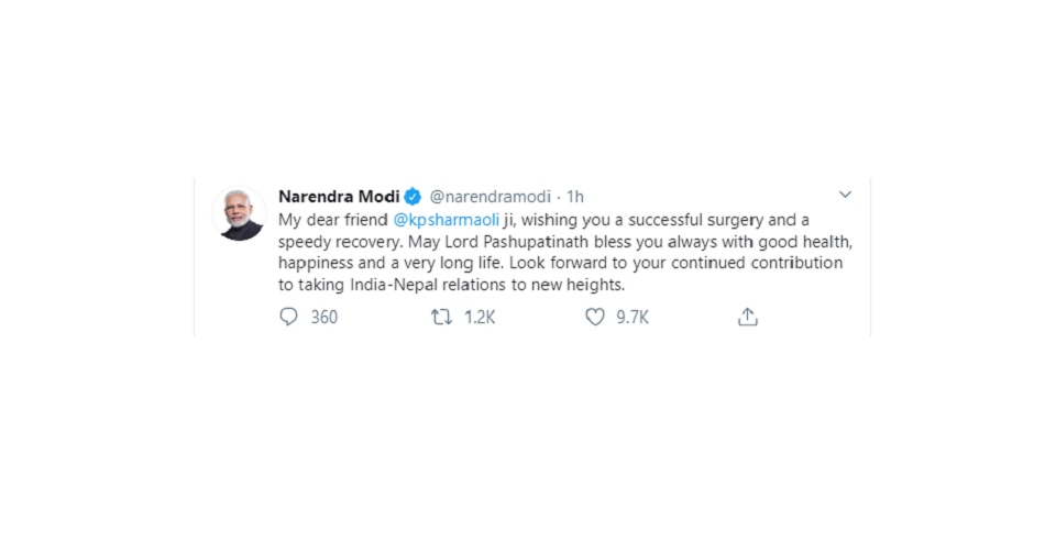 Indian PM Modi wishes PM Oli for successful kidney transplant