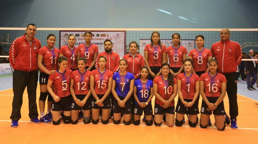 Nepali women begins SAG volleyball with dominating win, men lose