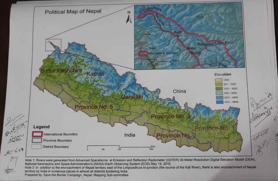 Civil society members unveil new political map of Nepal comprising Limpiadhura, Lipulekh and Kalapani