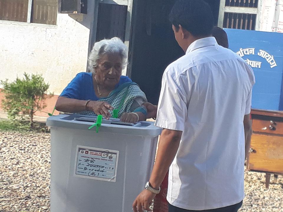108-year-old Obi Kumari Panthi casts her vote in Banke