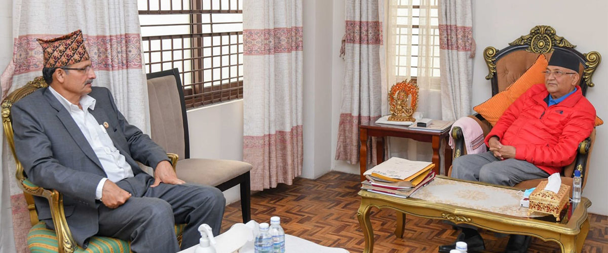 Speaker Sapkota meets PM Oli, discusses a host of issues including crucial bills