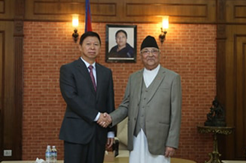 Chinese delegation meets PM Oli