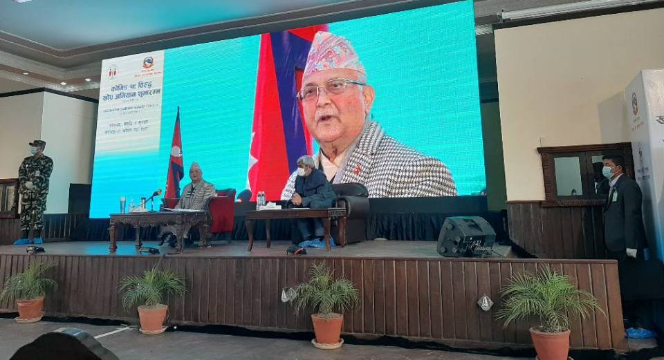 PM Oli vows to roll out COVID-19 vaccine for free to all Nepali nationals within three months