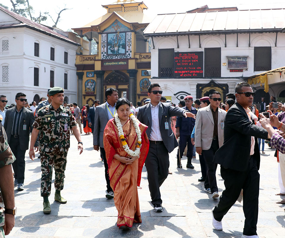 President performs special worship with 'panchamrit snan' at Pashupatinath temple