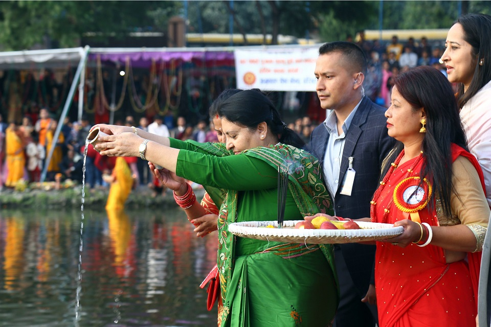 President Bhandari, VP Pun attend Chhath festival celebration at Kamal Pokhari