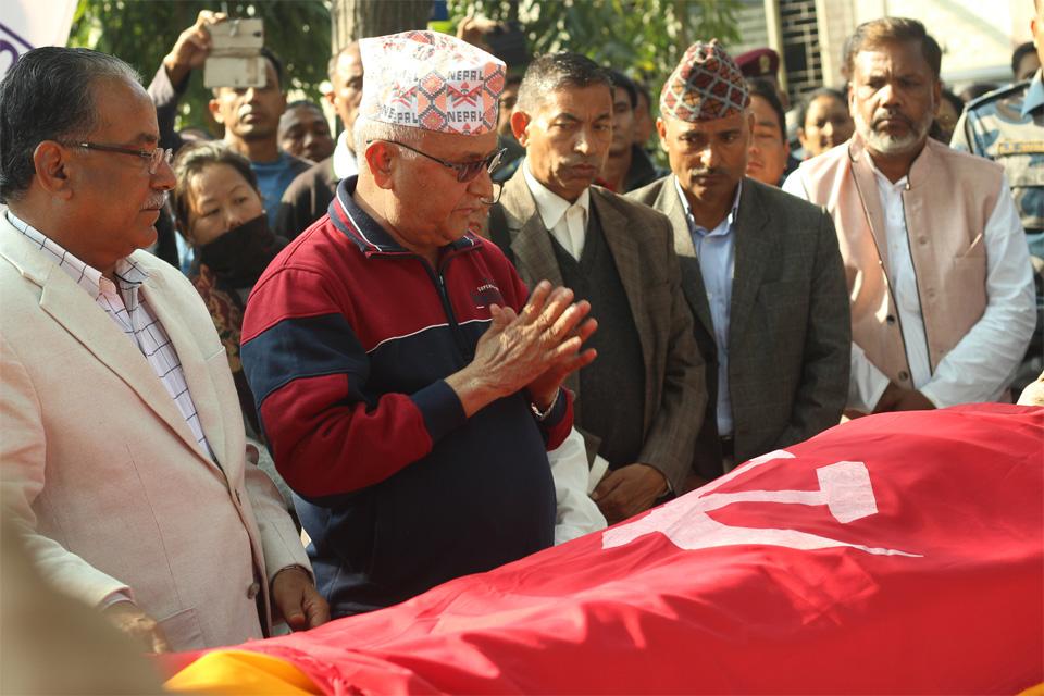 Oli, Dahal pay tributes to Pakhrin