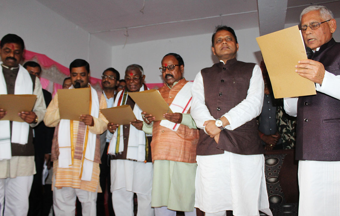 Province Chief Kayastha administers oath to four ministers in Maithili