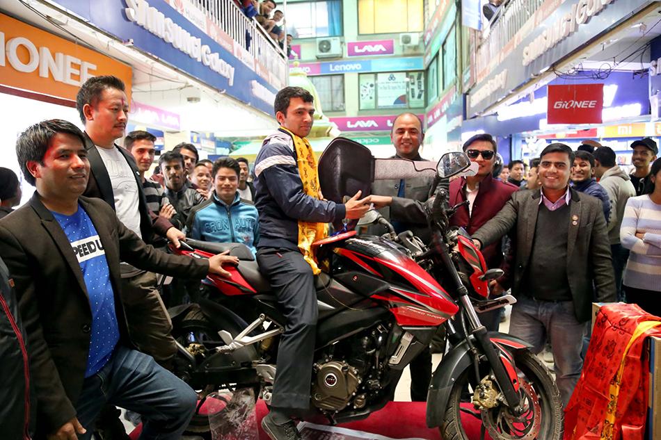 Prabin Silwal wins Tamrakar motorcycle