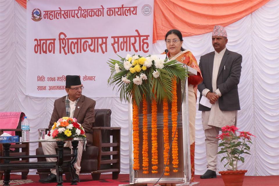 President Bhandari lays foundation stone for OAG building