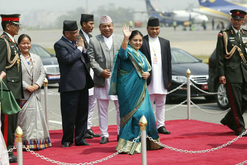 President Bhandari flies off to India on her maiden state visit (photo feature)