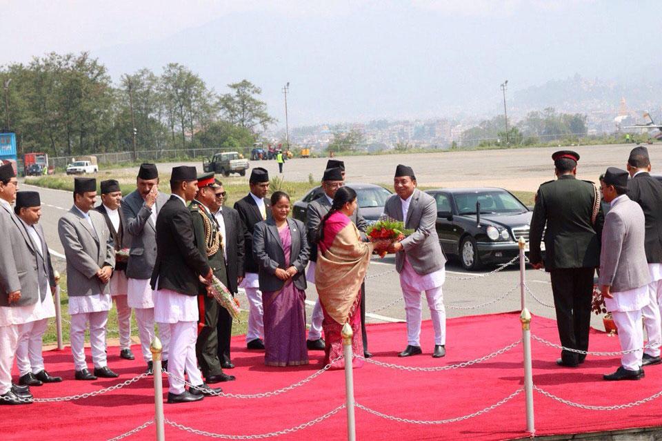 President Bhandari flies off to Sri Lanka via Thailand
