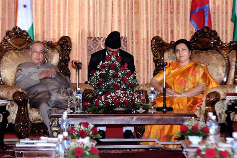 President Bhandari and Indian President Mukherjee hold talks