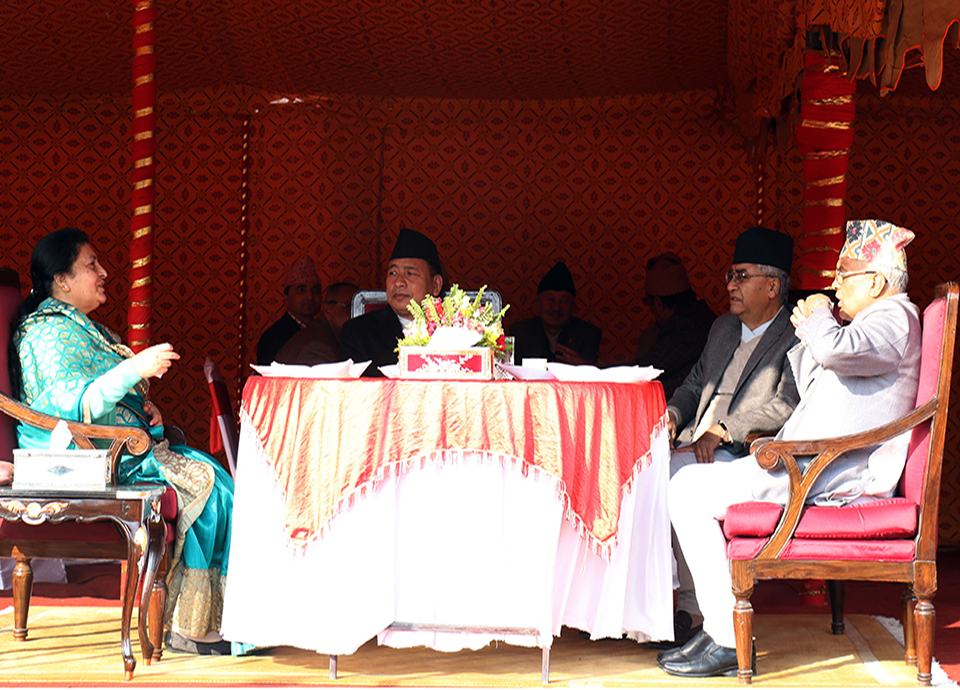 President Bhandari hosts tea reception on Maghi