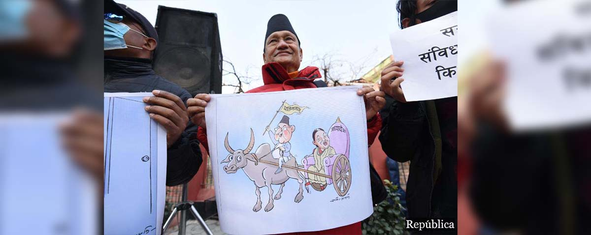 Civil society activists continue protest against parliament dissolution, compare PM Oli with Rana rulers