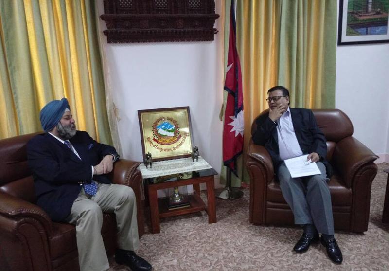 Indian envoy calls on DPM Mahara