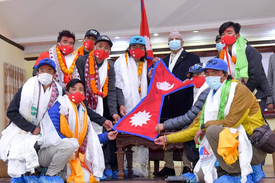 PM Oli felicitates Nepali mountaineering team that made history by climbing Mt K2 in winter (with photos)