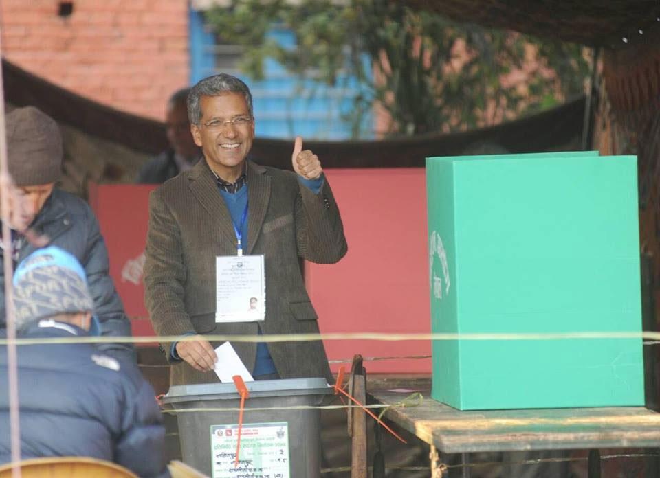 Rabindra Mishra Cast his vote in Ratnajyoti polling center