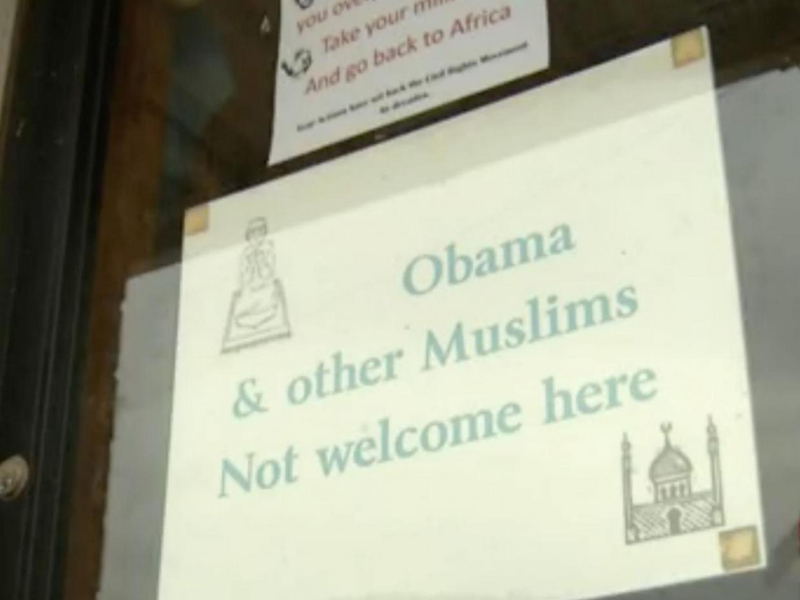 Mexico store displays racist window signs about Muslims, Obama