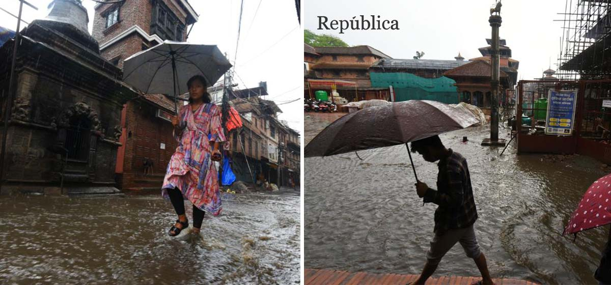 Streets of Patan turn into streams after heavy rainfall (with photos)