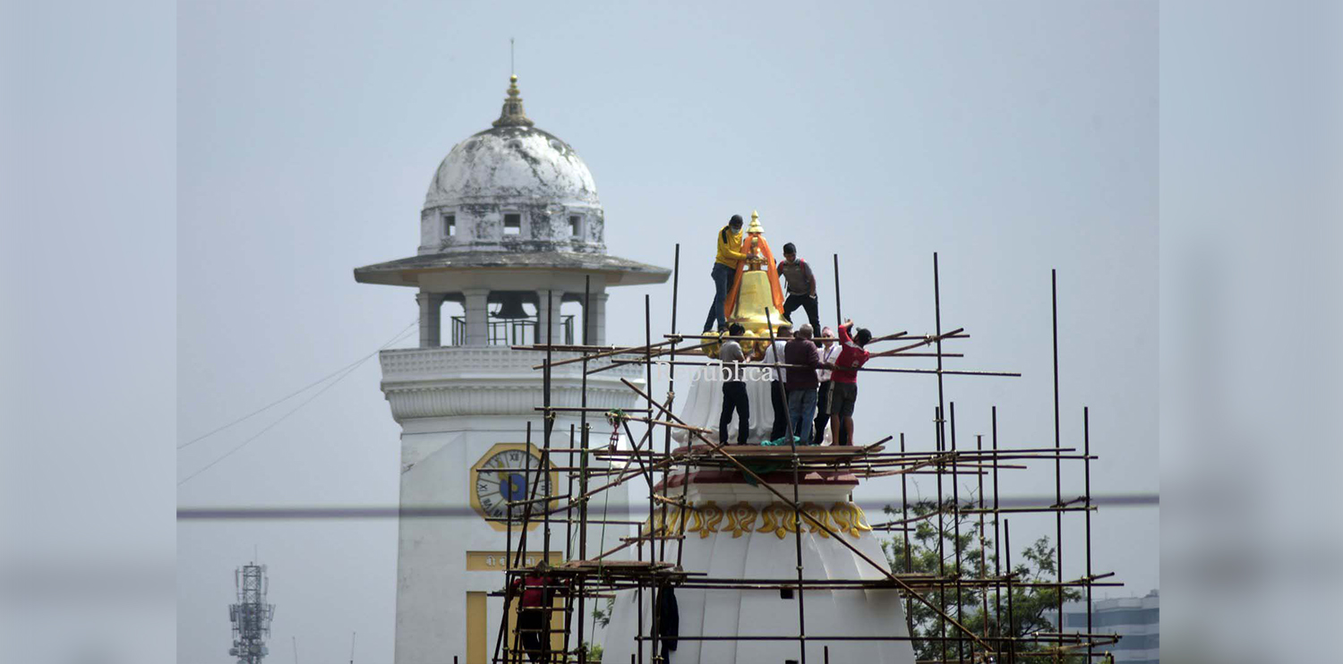 Photos: Pinnacle installed at top of Bal Gopaleshwar Temple at Ranipokhari